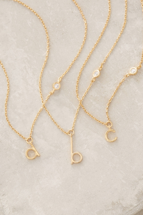 Anthropologie Mini Monogram Necklace Pendant