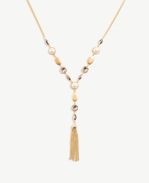 Ann Taylor Pearlized Y Necklace