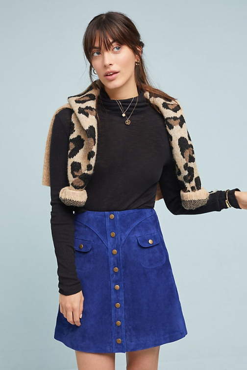 Anthropologie Suede Button-Front Mini Skirt