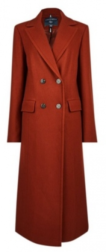 Dorothy Perkins Tall Tobacco Double Breasted Wool Look Coat Jacket