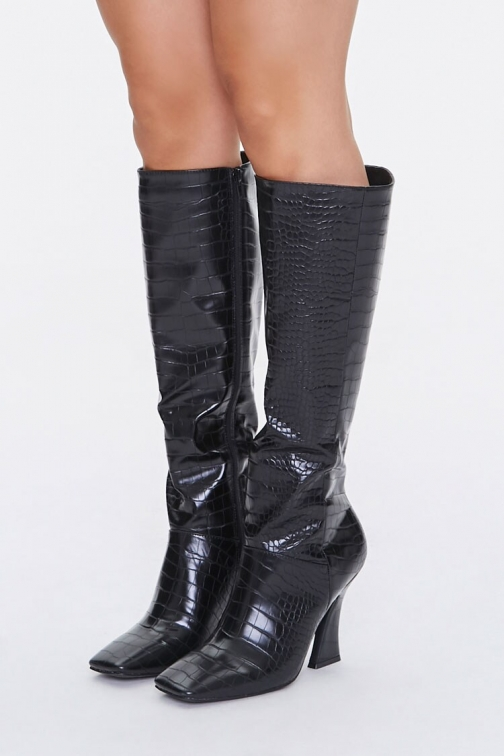 Forever21 Faux Croc Leather Knee-High Boots At Forever 21 , Black Knee High Boots