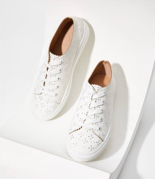 Loft Studded Scalloped Lace Up Sneakers Trainer