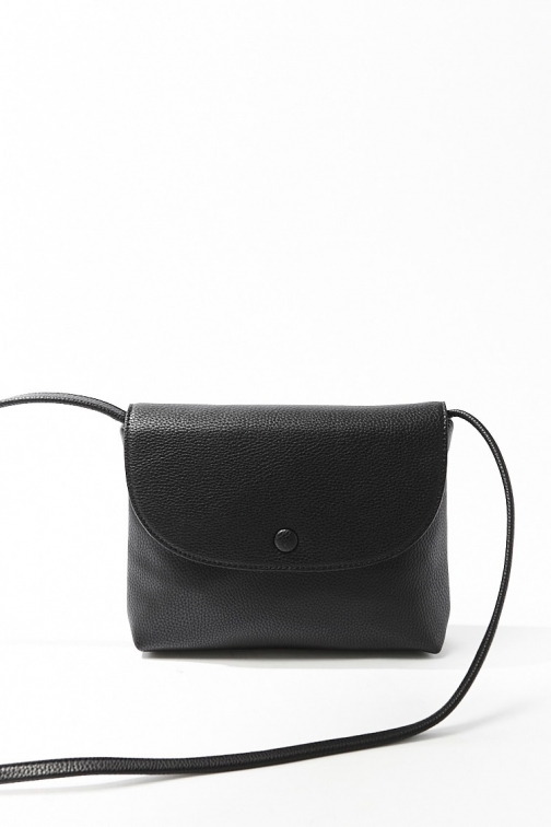 Forever21 Forever 21 Pebbled Faux Leather , Black Crossbody Bag