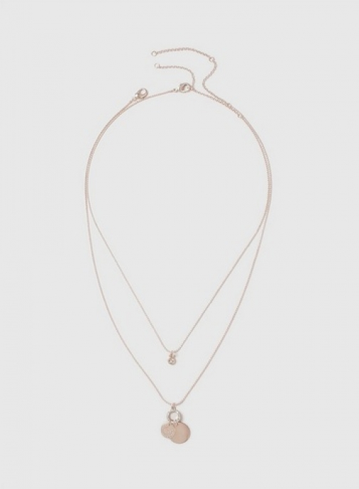 Dorothy Perkins Womens Rose Gold Two Row Cluster - Rose Gold, Rose Gold Necklace