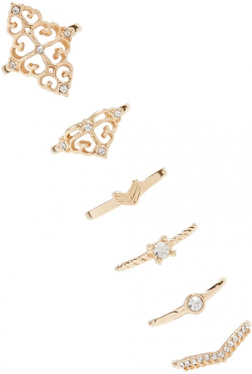 Forever21 Forever 21 Assorted Ornate Set Gold/clear Ring