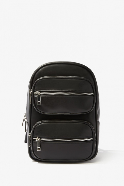 Forever21 Forever 21 Faux Leather Zippered , Black Backpack