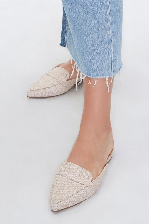 Forever21 Linen Pointed Toe Mules At Forever 21 , Beige Shoes