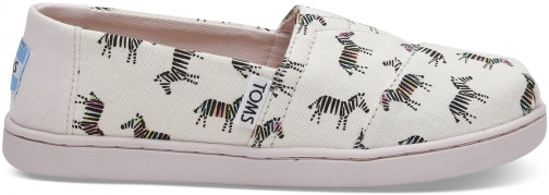 Toms White Canvas Zebra Print Youth Classics Slip-On Shoes