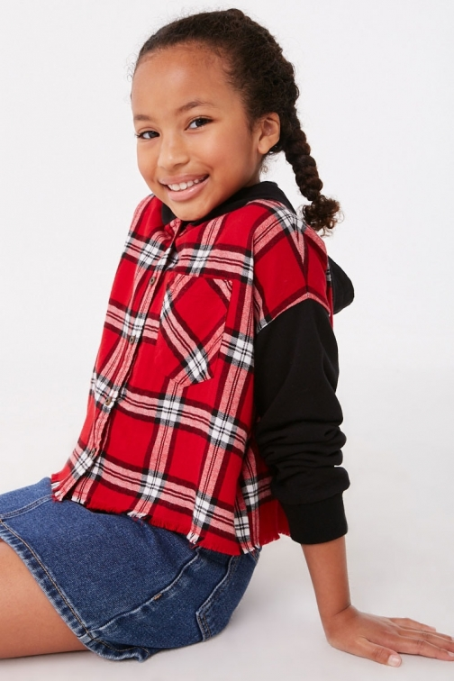 Forever21 Girls Forever 21 Girls Plaid Contrast Hooded Top (Kids) , Red/multi Hoodie
