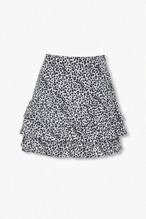 Forever21 Forever 21 Leopard Print , Cream/black Mini Skirt