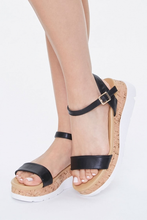 Forever21 Forever 21 Faux Leather Cork Wedges , Black Wedge Sandal