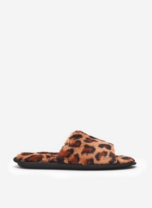 Dorothy Perkins Brown Leopard Print Faux Fur Slider