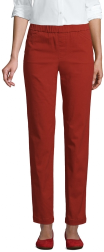 Lands' End Women's Mid Rise Pull On Ankle Pants - Lands' End - Red - 2 Chino
