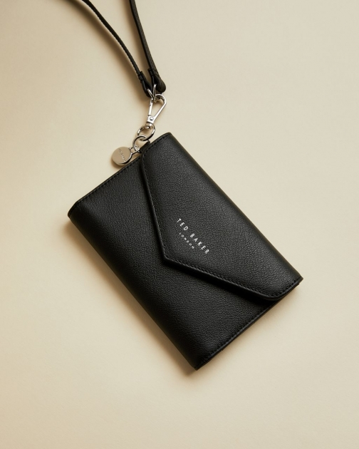 Ted Baker Leather Passport Holder On A Strap Passport Cover
