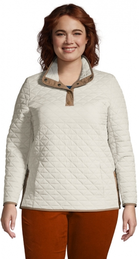 Lands' End Women's Plus Size Insulated Quilted Snap Neck - Lands' End - Tan - 1X Pullover