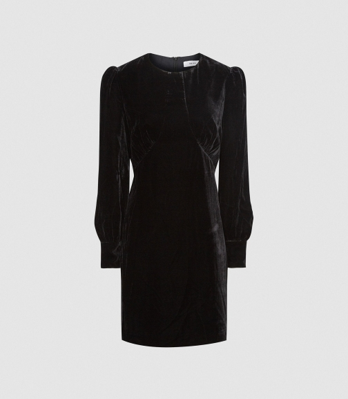 Reiss Blanca - Velvet Black, Womens, Size 6 Mini Dress