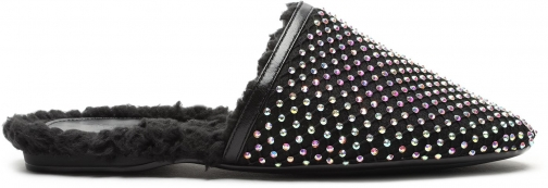 Schutz Shoes Jasmin Embellished Alpaca Mule - 5 Black Fabric/Crystal Embellishments/Faux Shearling Shoes