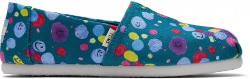 Toms Deep Lake Happy Dot Print Youth Classics Slip-On Shoes
