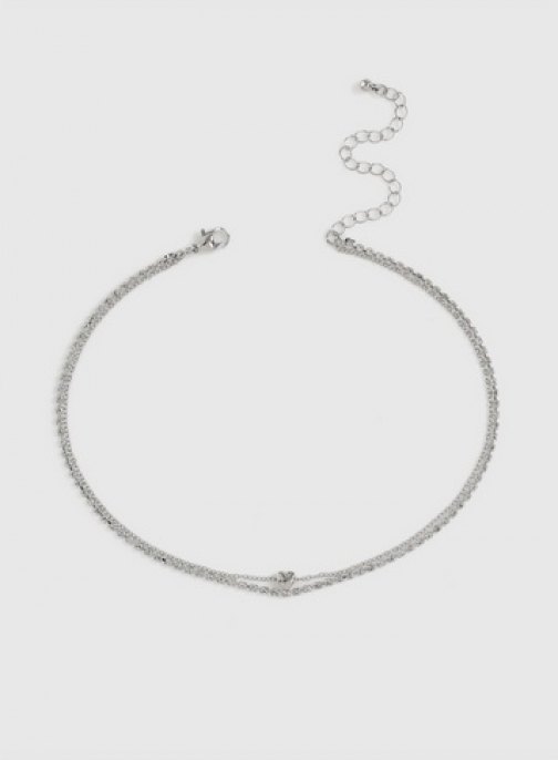 Dorothy Perkins Silver Double Row Heart Chokers