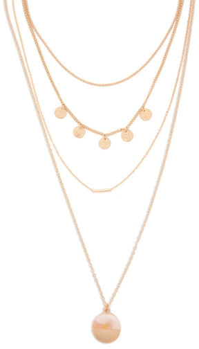 Forever21 Forever 21 Disc & Bar Chain Set Gold Necklace