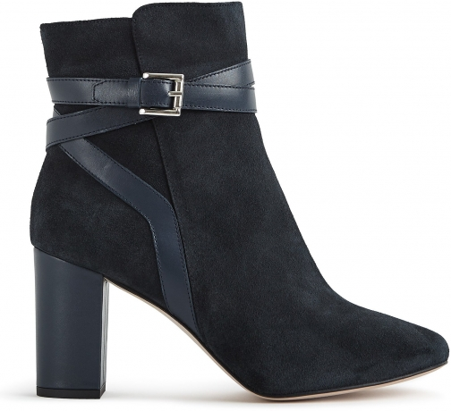 Reiss Enrica - Suede Buckle Detail Navy, Womens, Size 6 Boot