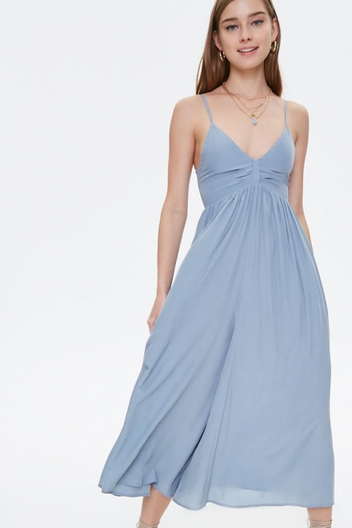 Forever21 Forever 21 Pleated Culotte Cami , Dusty Blue Jumpsuit