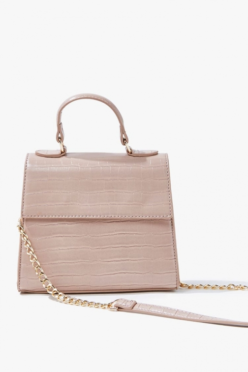 Forever21 Forever 21 Faux Croc Leather , Nude Crossbody Bag