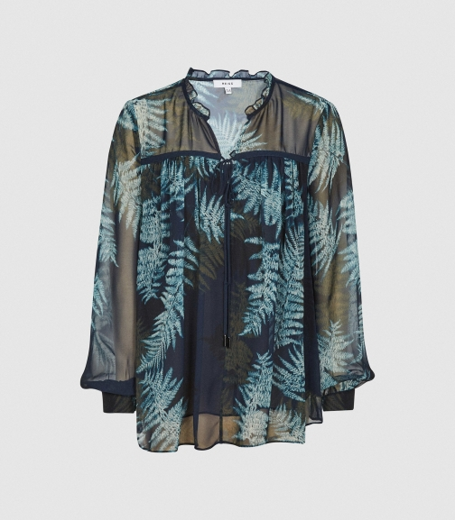 Reiss Louison - Fern Printed Multi, Womens, Size 4 Blouse