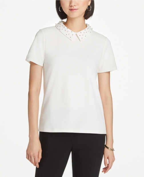 Ann Taylor Pearlized Top Collar