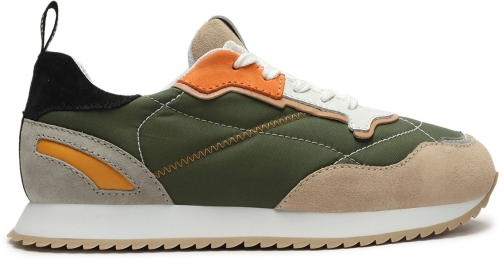Schutz Shoes Penny Mixed Media Sneaker - 5 Green Multi Leather Trainer
