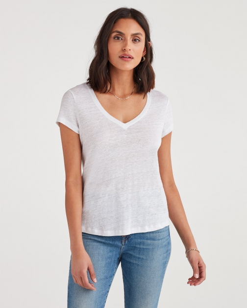 7 For All Mankind Women's V-Neck Tee Optic White T-Shirt