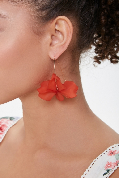 Forever21 Forever 21 Floral Wire Drop , Tomato/gold Earring
