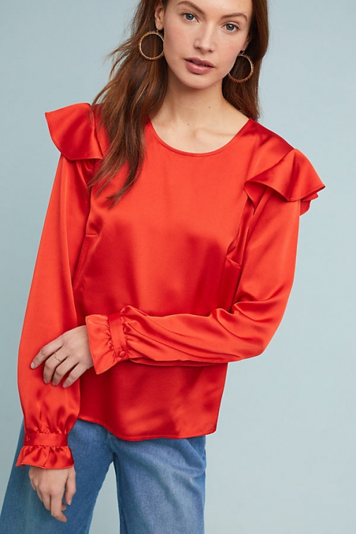 Hutch Morgan Ruffled-Satin Blouse