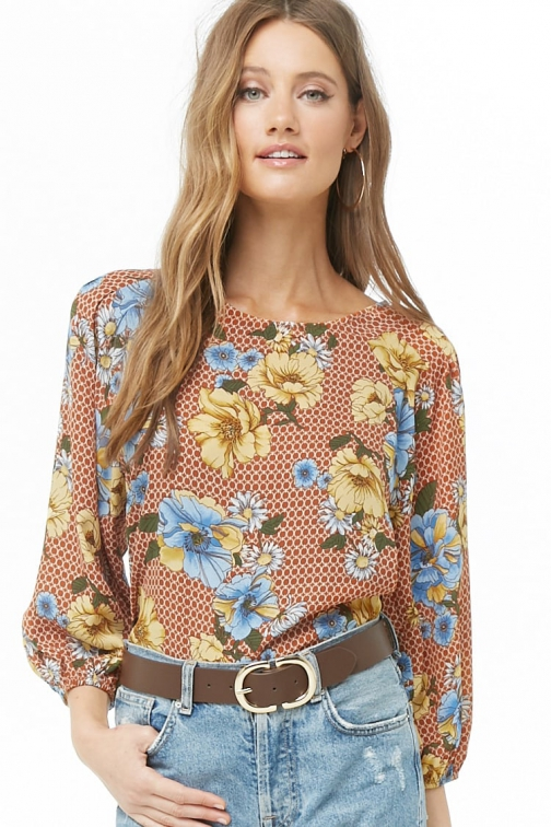 Love21 Chiffon Floral & Geo Print At Forever 21 , Rust/multi Top