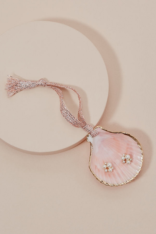 Anthropologie Seashell Trinket Dish + Earring