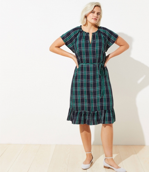 Loft Plus Plaid Split Neck Tie Waist Dress