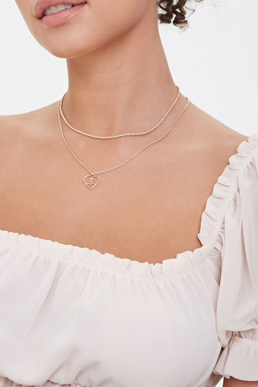 Forever21 Forever 21 Heart & Joy Charm Necklace Set , Gold Jewellery