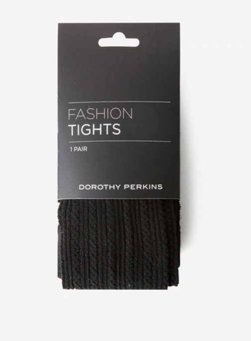 Dorothy Perkins Womens Black 1 Pack Cable Knitted - Black, Black Tight