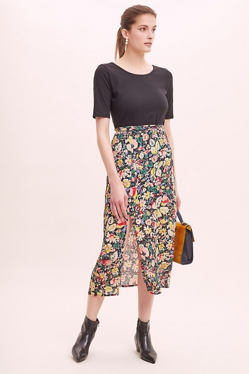 Anthropologie Lily And Lionel Grace Floral-Print Skirt