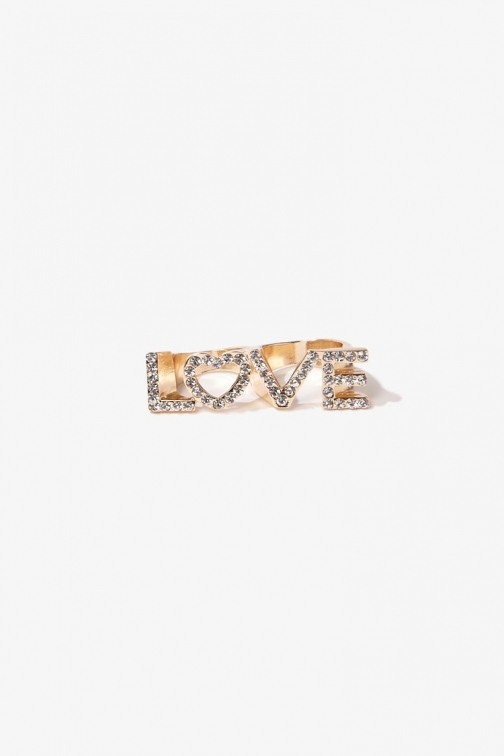 Forever21 Forever 21 Rhinestone Love , Gold/clear Ring