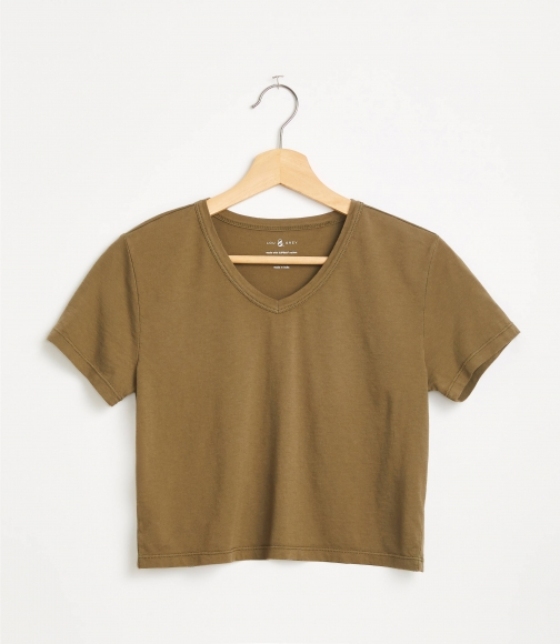 Loft Lou & Grey Cropped V-Neck Softserve Tee T-Shirt