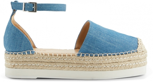 Schutz Shoes Darla Flat - 5 Light Blue Denim Espadrille