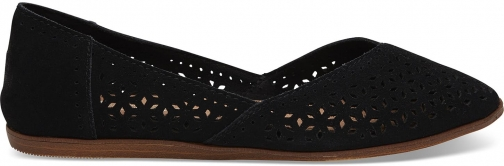 Toms Black Perforated Suede Women's Jutti Shoes Flats