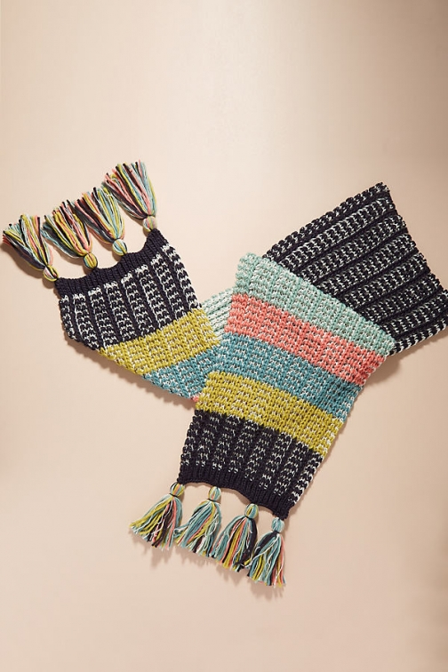 Anthropologie Striped Tasselled - Assorted Scarf