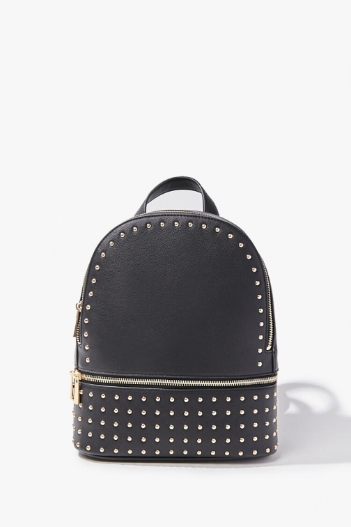 Forever21 Forever 21 Studded Faux Leather , Black/gold Backpack