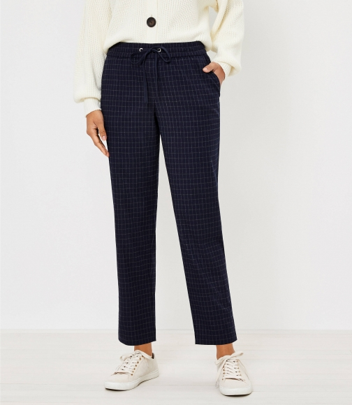 Loft Petite Tapered Pull On Pants Windowpane Brushed Flannel Trouser