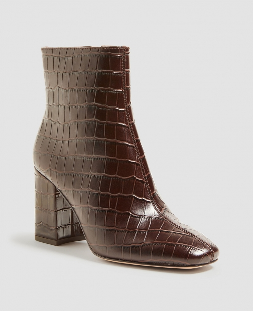 Ann Taylor North Embossed Leather Heeled Booties Boot