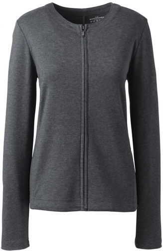 Lands' End Women's Zip Crew - Lands' End - Gray - XS Cardigan