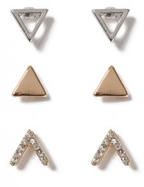 Topman Mens SILVER Mixed Metal Crystal Triangle Pack*, SILVER Earring
