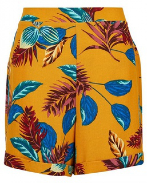 Dorothy Perkins Yellow Leaf Print Short